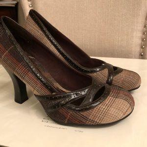 Tartan  brown, red, cream color dress shoe .